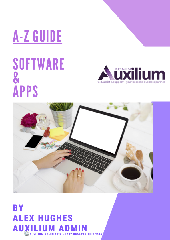 Cover page of A-Z Guide for Software and Apps by Alex Hughes of Auxilium Admin